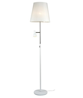 Floor reading lights lighting styles shaded floor lamp with dimmable led reading light aloadofball Images
