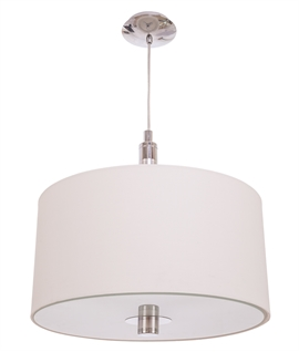 White Fabric Pendant Light - Touch Dimmer