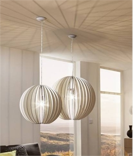 White Wooden Pendant - Curved Slat Detail