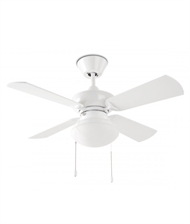White Ceiling Fan with Four Reversible Blades