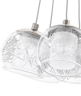 Glass Cluster 7 Light Pendant - Wire Globe Detail