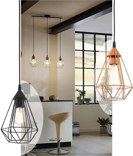 3-Light Geometric Bar Suspended Pendant - Hexagonal Pyramid Wire Shades
