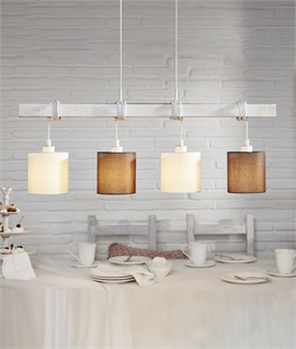 White Patina Bar Pendant - Adjustable Lamp Flexes & Shades