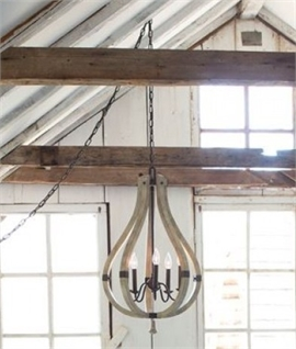 Steel & Wood Chandelier - Rustic Style