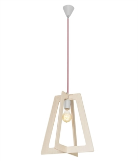 Geometric Wooden Shade Bare Bulb Pendant