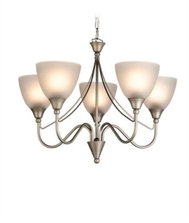 5 Light Satin Steel & Acid Glass Chandelier