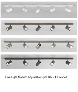 Modern 5 Light Adjustable Spot Bar - 4 Finishes