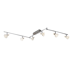 LED Chrome Spot Bar 6 Glass Lights