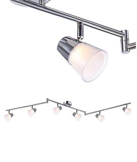 Adjustable Matt Nickel LED 6 Light Bar Length 1050mm