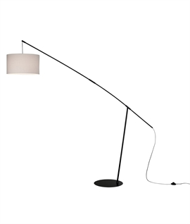 Adjustable Long Reach Floor Lamp with Beige Shade