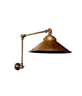 Long Reach Adjustable Brass Wall Light