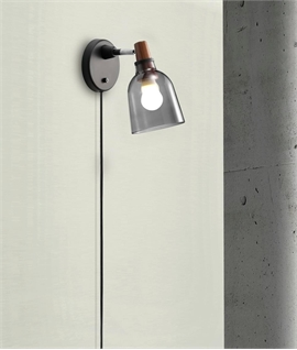 Smoked Glass & Wood Wall Light - Black Flex