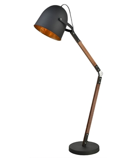 Black & Gold Adjustable Floor Lamp with Wooden Stem