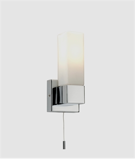 Slim Chrome & Opal Glass Wall Light IP44