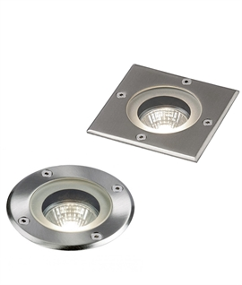 Recessed Groundlight for Mains GU10 Lamps - Stainless Steel