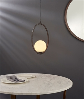 Bronze Oval with Suspended Globe Light