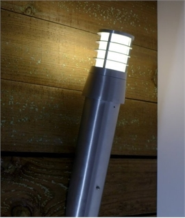 Large Polished Aluminium Exterior Wall-Mounted Torch Lantern