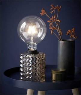 Etched Glass Bare Bulb Table Lamp