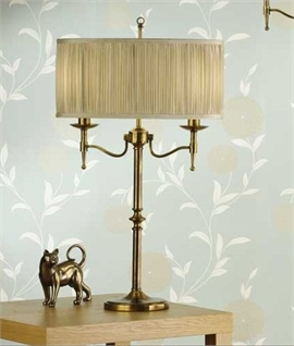 Antique Brass & Organza Shade Table Lamp