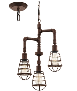 Marine Styled Pendant with Caged Lamps