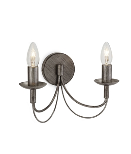 Antique Silver Double Arm Wall Light