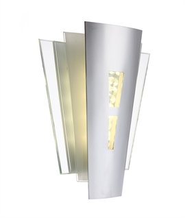 Art Deco Mirrored & Crystal LED Wall Light