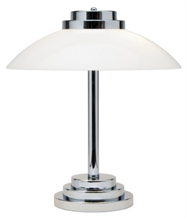 Classic Art Deco Styled Opal Glass and Polished Chrome Table Light