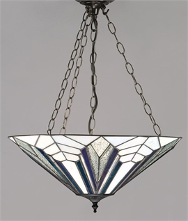 Art Deco Bronze & Tiffany Glass Inverted Pendant