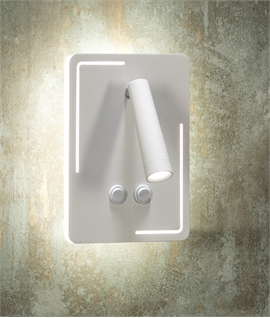 Back-Lit Bedside Wall Light with LED Reader - Switched