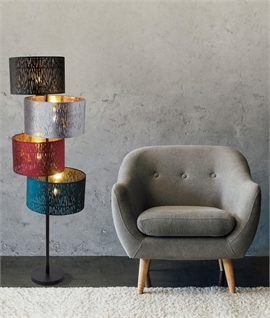 Floor Lamp with Balancing Velvet Shades