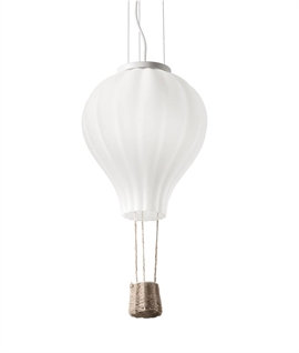 White Air Balloon Glass & Basket Light