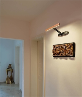 Bamboo & Steel Linear Wall Light - Switched