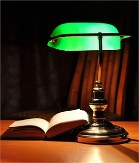 Old Gold Bankers Lamp with Green Shade