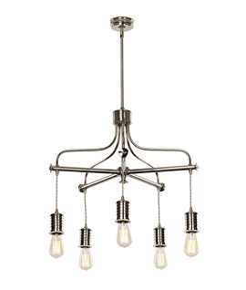 Chic & Modern Bare Lamp Chandelier - 5 Arm