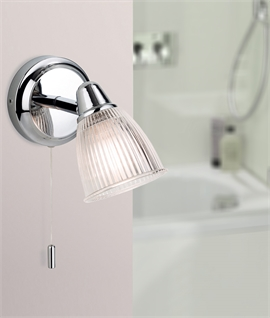 Chrome Bathroom IP44 Rated Wall Light - Pull Cord Switch