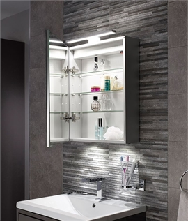 Bathroom wall cabinets with integral lights lighting styles led bathroom cabinet with over mirror light 600mm x 500mm aloadofball