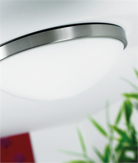 Semi Flush Dished Glass Light With Built In Motion Sensor