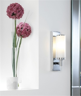 Polished Chrome & Glass Slim Wall Light IP44
