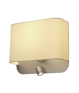 Silver Grey Bedside Wall Light with LED