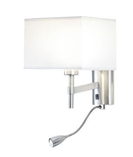 Satin Nickel Bedside Light with LED Arm