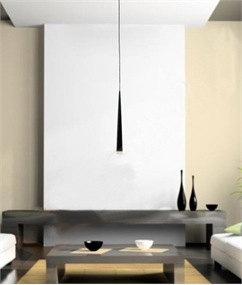 Long Drop Fluted Single Pendant Black, White or Chrome