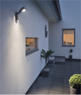 Black LED Exterior Wall Light with PIR Detector