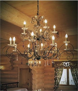 Scroll & Crystal 15 Light Ornate Chandelier