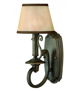 Curved Bronze Arm Wall Light with Shade