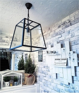 Hanging Black Frame Lanterns - Clear Glass and Bare Lamp