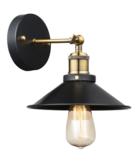 Pioneer Style Metal Wall Light - Black with Antique Brass