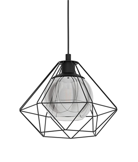 Modern Caged Pendant Glass Inner Shade