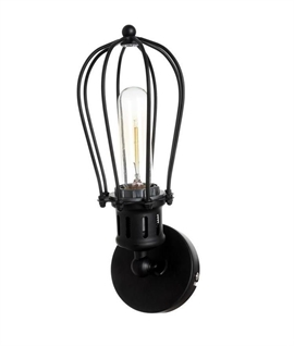 Black Cage Single Wall Light