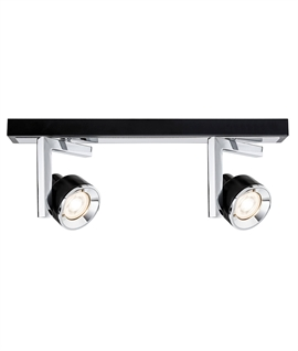 Ultra Modern Double Spot Bar in Black and Chrome