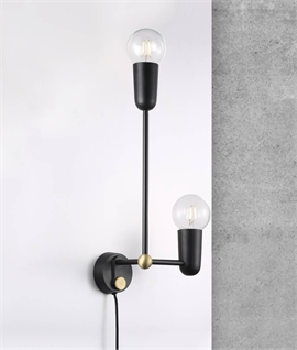 Playful & Modern Designer Wall Light - Black & Gold